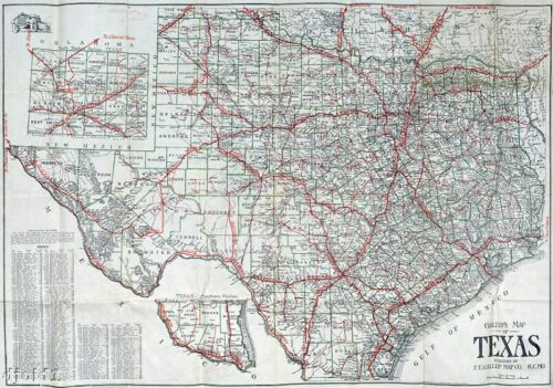 """1910 Census ~ Very Early Texas Road Map~Gallup~24/""""x36/"""""""