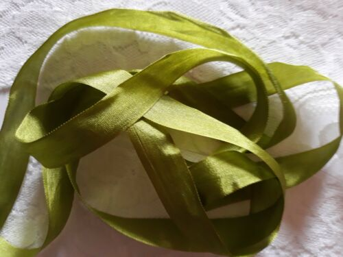 1 Metres 13mm 100/% Pure Silk Ribbon Olive Green Embroidery Miniatures