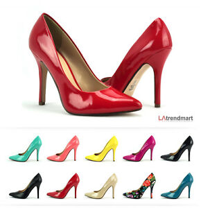 Image Is Loading Women Pointy Toe Pump Heel Leatherette Office Party