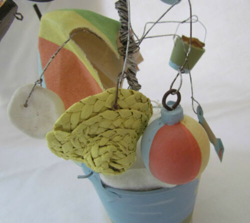 Small decorated BEACH Themed Wire Tree Primitives by Kathy 17371 pail shell hat