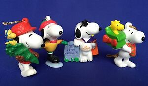 4 PVC Snoopy Figures 3 Christmas Ornaments 1 Halloween VTG Peanuts Woodstock