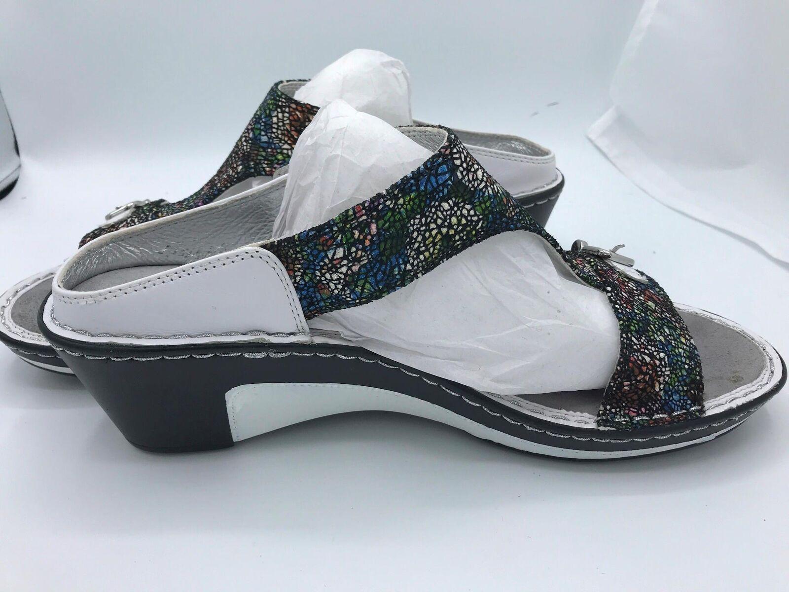 Alegria Leather Slip-on Sandals Lara 42, Cathedral (1585) Multicolor Eur 42, Lara US 11 7252ee
