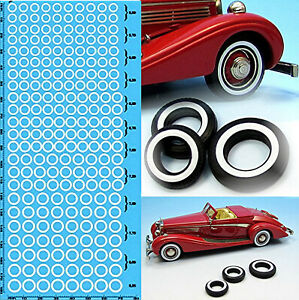 Voiture-Miniature-Whitewall-Pneus-Maquette-de-Mur-Blanc-Reifen-1-87-Sticket