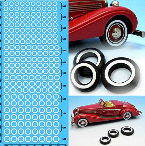 Modelcar whitewall tires coche modelo weisswand neumáticos 1:87 decal estampados