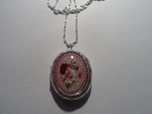 """SILVER PLATED VICTORIAN MAROON//PINK ROSE OVAL LOCKET NECKLACE 26/"""""""