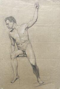 Erich Krause Disegno Presidente Maschile Nudo Autografato Stile Liberty