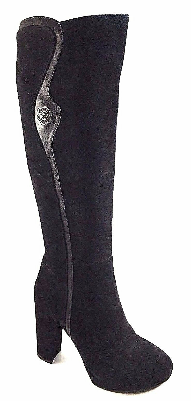 BoNavi BoNavi BoNavi N4WA096-H507 Black Suede Leather High Thick Heel Platform Knee High Boots 1049f4