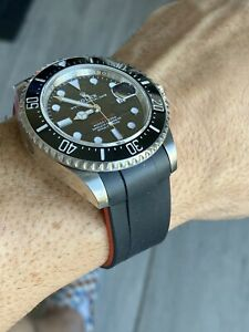 22mm-BLACK-RED-Vulcanized-Rubber-Strap-Band-Perfect-Fit-43mm-Rolex-Seadweller