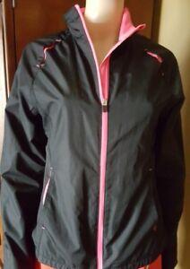 adf10021fbf22 Danskin Now Women s Black Pink Full Zip Lightweight Windbreaker Jacket Size  M