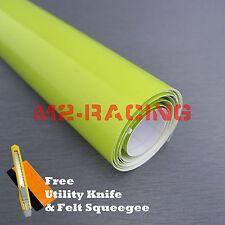 "*24""x60"" Gloss Neon Yellow Green Sticker Decal Car Laptop Vinyl Wrap Air Release"