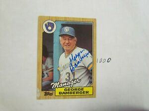 1987-Topps-George-Bamberger-Autographed-Signed-Baseball-Card