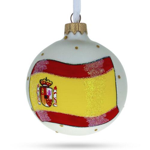 Flag of Spain Glass Ball Christmas Ornament