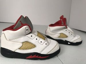 """new concept 876ad b6f37 Details about Nike Air Jordan 5 V Retro """" Fire Red"""" Toddler Size 8c  440890-100"""
