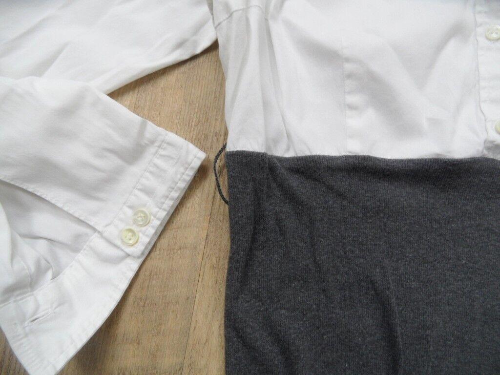 BRUNELLO CUCINELLI schönes Blausenkleid weiß weiß weiß grau Gr. S TOP BI1217 8e342d