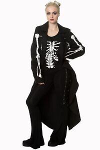 Women-039-s-Gothic-Punk-Emo-Rockabilly-Skeleton-Bones-Jacket-Coat-By-Banned-Apparel