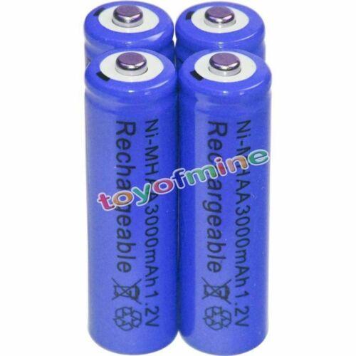 4X AA 3000mah 2a 1.2v Ni-MH Wiederaufladbare NH-AA Zelle Akku Batterien-Blau