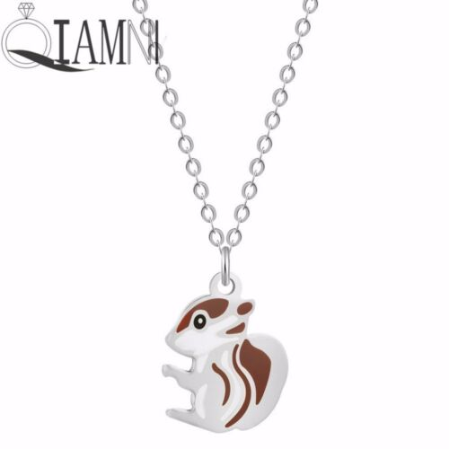 Cute SQUIRREL Necklace Pendant Chain Animal Grey Red Acorn Tree Woodlands UK