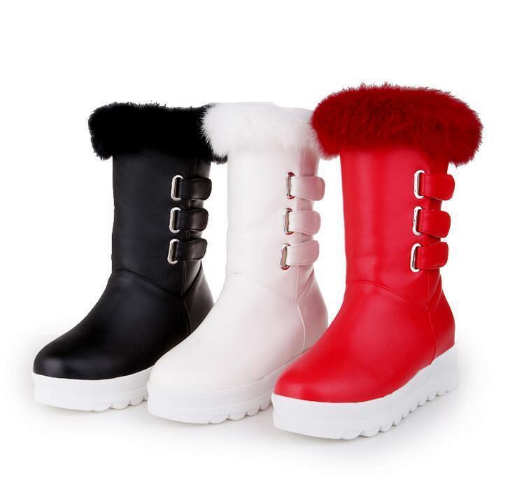 Women Real Rabbit Fur Top Buckle Hidden Wedge Heel Metal New Mid Calf Boot shoes