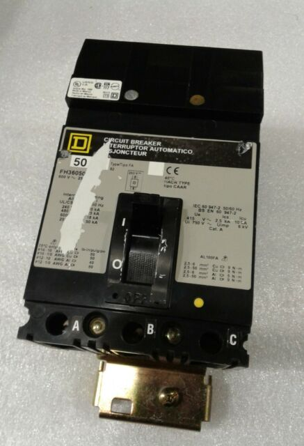 "FH36050 SQUARE D 3POLE 50AMP 600V CIRCUIT BREAKER ""2 YEAR WARRANTY"""
