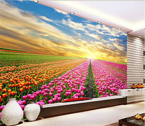 3D Beautiful Sunset Garden Wall Paper Wall Print Decal Wall AJ WALLPAPER CA