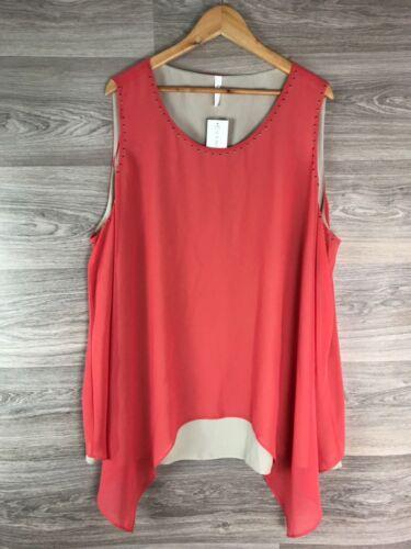 Rrp Size 26 Coral Top Evans Sleeveless Pink Layer £32 8235 Vest Beige Cami vnq4z