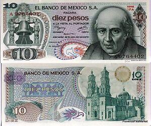 MEXICO-billete-nuevo-de-10-PESOS-Pick63i-catedral-DOLORES-M-HIDALGO-1977
