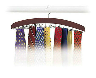 Hardwood Walnut 24 Tie Hanger Clost Accessories Necktie Belt Organizer for Men