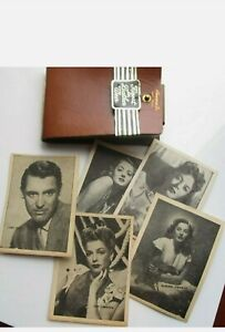 1940's Cowhide Wallet with Original Movie Star Inserts Cary Grant, Gary Cooper