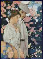Counted Cross Stitch Vintage Couple Strolling - Complete Kit - No.32-114 Kit