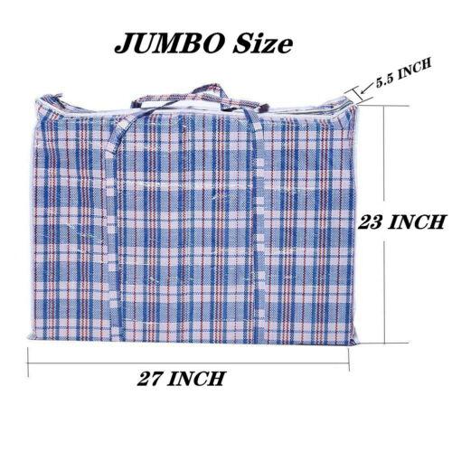 Reusable Large Jumbo plastic Shopping Laundry Moving Storage Luggage Bag Zip