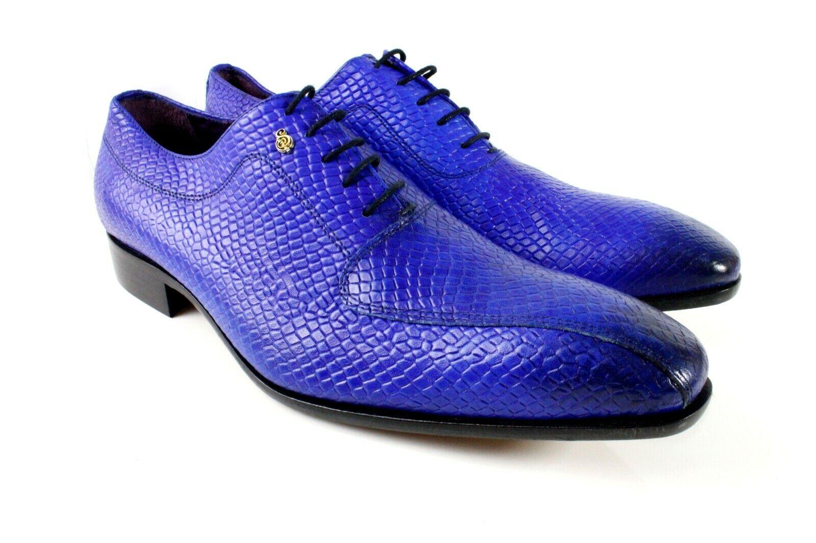 Cocodrilo Azul vestido de cuero italiano Hecho a Mano Hombres Zapatos Oxford Zapatos