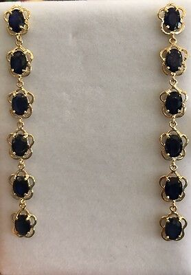14k Solid Yellow Gold Dangle Stud Earrings W/Natural Sapphire Oval 7.18GM