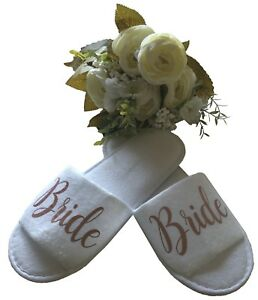fd475aa89758 Image is loading Personalised-Bridal-Slippers-Hen-Party-Slippers-Wedding- Party-