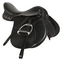 16 17 18 English Leather All Purpose Black Saddle Jumper Riding Trail Tack Show