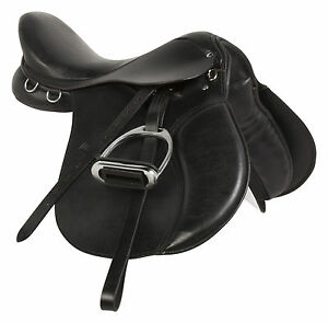 15-16-17-18-BLACK-LEATHER-ALL-PURPOSE-ENGLISH-HORSE-RIDING-SADDLE-TACK-STIRRUPS