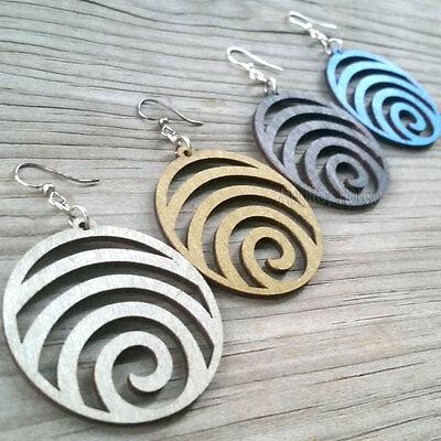 Green Tree Jewelry earrings WAVE laser-cut wood modern-spiral CHOOSE COLOR 1054