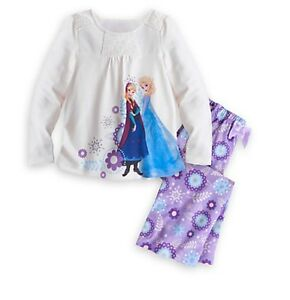 Disney-Authentic-Frozen-Elsa-amp-Anna-2pc-Pajama-Sleep-Set-Girls-PJ-039-s-Size-2-3-4