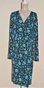 Ladies-Joe-Browns-Blue-Green-Floral-Cotton-Stretch-L-S-Wrap-Dress-Size-UK-18