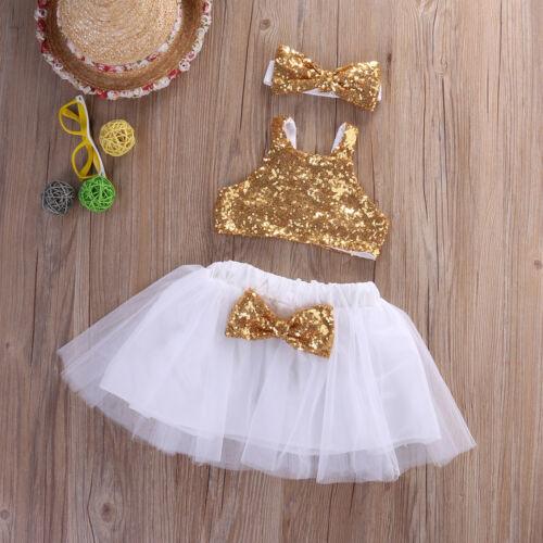 Princess Kids Baby Girl Sequins Tops+Tutu Skirts 3pcs Outfits Set Party Dress UK
