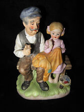 Vintage Lefton China Old Man & Young Girl on Bench Figurine - 7854