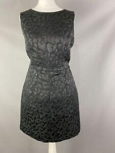 Warehouse Size Uk 12 Black Glitter Leopard Animal Print Dress Fit Flare A Line Ebay