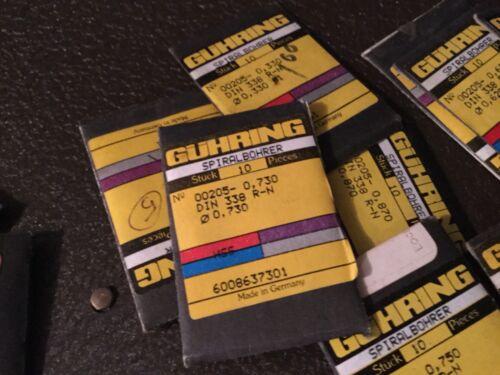 "Pkg of 10 205 Series .41mm  .0161/"" Guhring Micro Precision Cobalt Drill Bit"