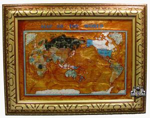 Unique Art 26 Cross Amber Pearl Swirl Ocean Gemstone World Map With