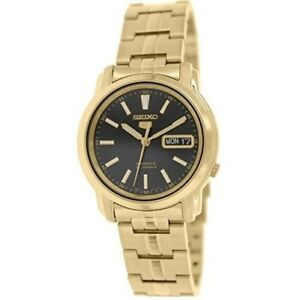 Seiko-5-SNKL88-K1-Gold-with-Black-Dial-Men-039-s-Automatic-Analog-Watch