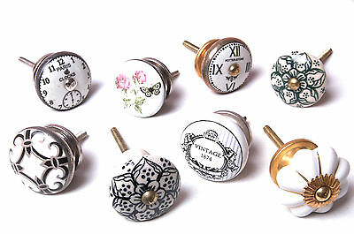 8 Set Mixed Vintage Shabby Chic Cupboard Knobs Drawer Knobs Kitchen Knob Cabinet