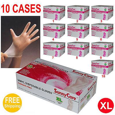 XL 100//box Latex Nitrile Free SunnyCare #7904 Vinyl Disposable Gloves Powdered