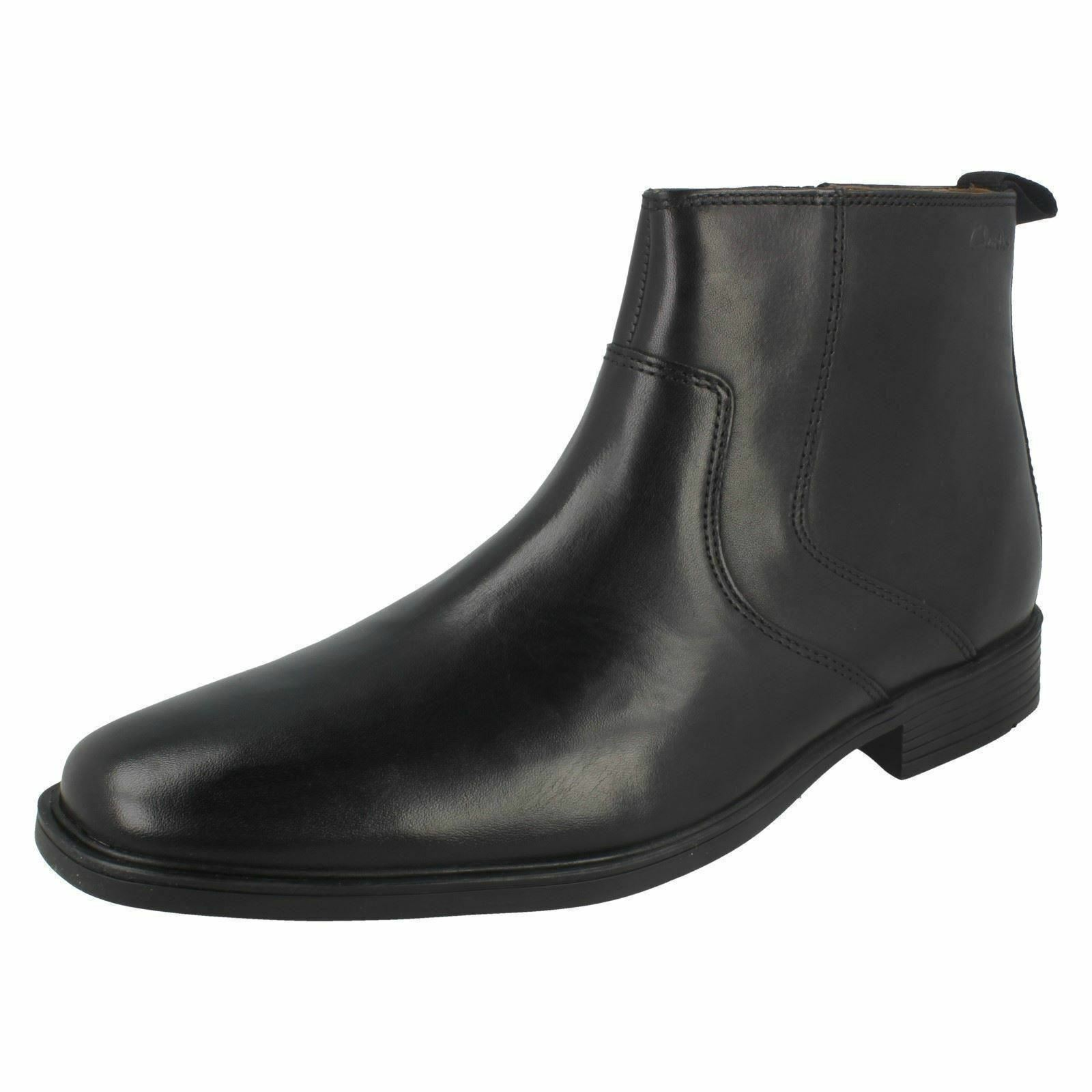 Mens Tilden Zip Black Leather Ankle Boot By Clarks