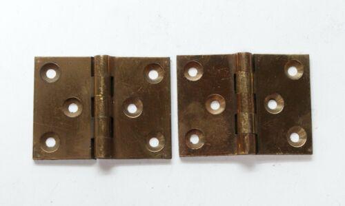 Pair of Antique Brass Corbin 1.5 x 2 Butt Hinges