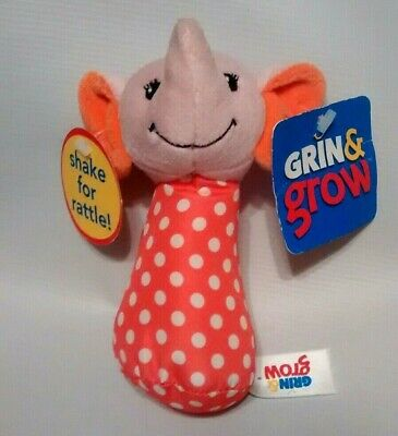 "Sassy Grin /& Grow Blue White Polka dot ELEPHANT Plush baby RATTLE Stuffed Toy 5/"""