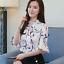 Verano-para-mujer-Floral-Casual-de-Gasa-Manga-a-Mitad-de-Superdry-holgado-Camiseta-Blusa-Camiseta miniatura 2